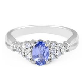 Vintage Style Oval Cut Tanzanite Diamond Ring in 18 Karat White Gold