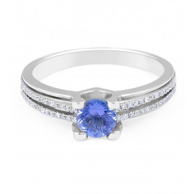 Modern Round Tanzanite Diamond Ring in 18 Karat White Gold