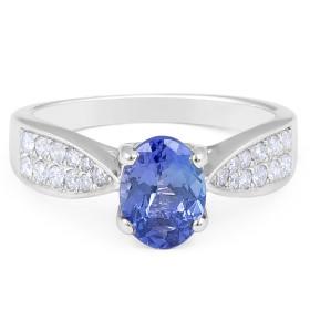 Classic Oval Cut Tanzanite Diamond Ring in 18 Karat White Gold