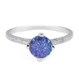 Classic Round Tanzanite Diamond Ring in 18 Karat white gold