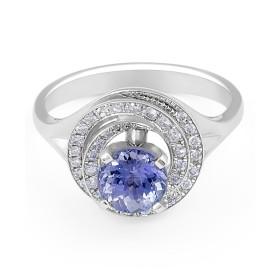 Vintage Style Round Halo Tanzanite Diamond Ring in 18 Karat White Gold