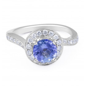 Vintage Style Round Tanzanite  Diamond Ring in 18 Karat White Gold
