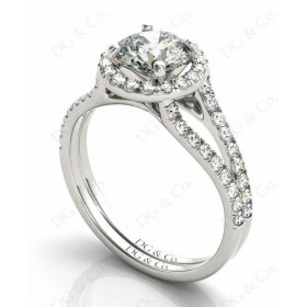 Brilliant Cut Halo Diamond Engagement ring with claw set centre stone
