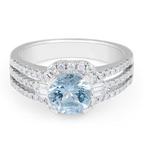 Aquamarine Diamond Halo Split Band Ring in18 Karat White Gold Women's Engagement Ring