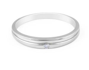 18 Karat White Gold Modern Design Split Band Diamond