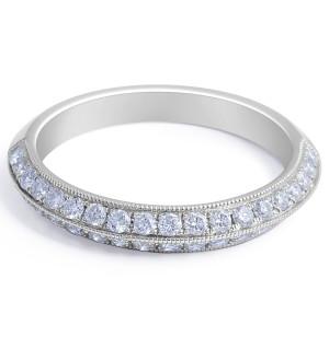 18 Karat White gold Diamond Wedding Band in Grain set - womens wedding band
