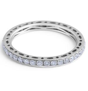 18 Karat White gold Diamond Wedding Band in Pave Setting  - womens wedding band