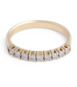 18 Karat Yellow Gold Diamond Wedding Band in Claw Setting - womens wedding bands