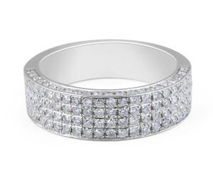 18 Karat White Gold Classic Diamond Wedding Band