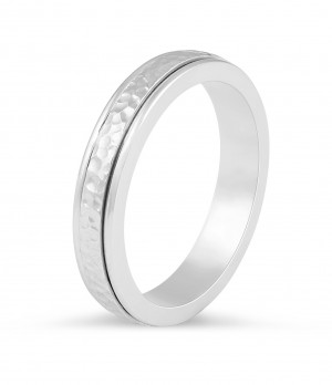 Modern wedding band with hammered centre and double inlays