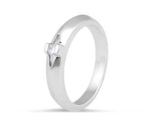 18 Karat White Gold Tension set, solitaire, knife edge, ladies diamond wedding band - womens wedding band
