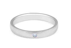 Platinum Solitaire Grain Edge Ladies Diamond Wedding Band - womens wedding bands
