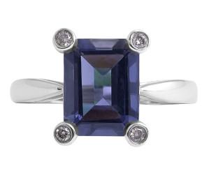 Iolite and Diamond Ring in 18 Karat White Gold