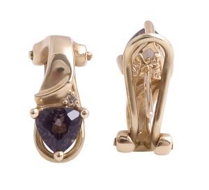 Smokey Quartz and Diamond Earrings in 14 Karat Yellow Gold