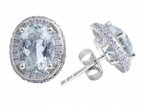 Prasiolite and Diamond Earrings in 18 Karat White Gold