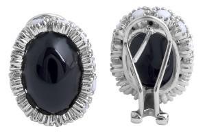Cabochon Black Onyx and White Onyx Earrings in 14 Karat White Gold