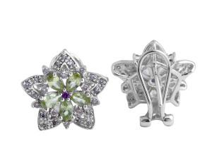 Peridot/Rhodolite Garnet and Diamond Earrings