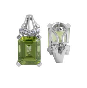 Peridot and Diamond Earrings in 14 Karat White Gold