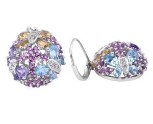 Multi colour gemstone Dangle Earrings in 14 Karat White Gold