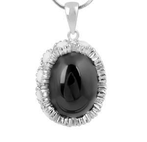 Cabochon Black Onyx and White Onyx Pendant in 14 Karat White Gold