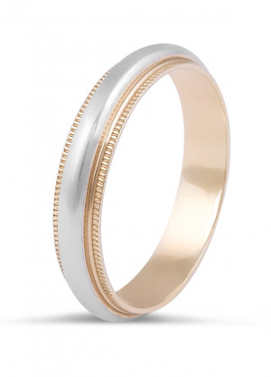 18 Karat 2-Tone Gents Wedding Ring with Milgrain Edges