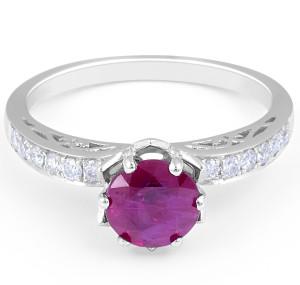 Ruby Diamond Ring Engagement Ring in 18 Karat White Wedding rings melbourne