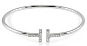 18 Karat white gold Diamond Wire Bangle