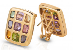 Multi-colour Gemstones Earring Framed with 14 Karat Yellow Gold
