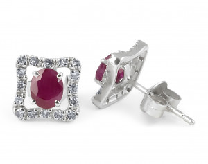 Halo Ruby Diamond Earring in 14 Karat White Gold
