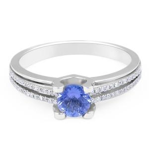 Modern Round Tanzanite Diamond Gemstone rings