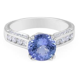 Vintage Style Round Tanzanite Diamond Ring in 18 Karat White Gold  Women's Engagement Ring