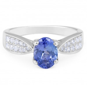 Classic Oval Cut Tanzanite Diamond Ring in 18 Karat White Gold Women's Engagement Ring