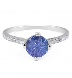 Round Tanzanite Diamond Ring in 18 Karat white gold Custom engagement rings