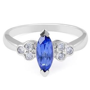 Modern Style Marquise Cut Tanzanite Diamond Ring in 14 Karat White Gold