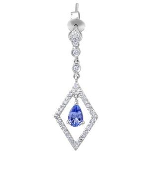 Tanzanite Diamond Drop Earrings in 18 Karat White Gold