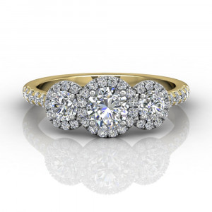 Trilogy Halo Diamond Engagement Ring Pave Setting
