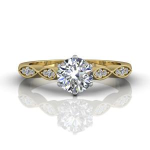 Vintage Style Milgrain Diamond Engagement Ring