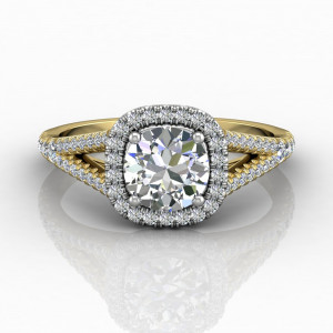 Cushion Cut Halo Diamond Engagement Ring With Four Claw Setting Centre Stone