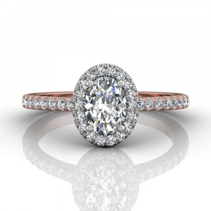 OVAL CUT HALO DIAMOND ENGAGEMENT RING WITH FOUR CLAW