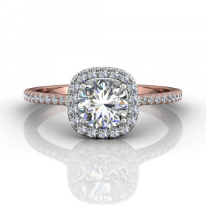 18K Rose And White Gold Diamond Halo Engagement Ring