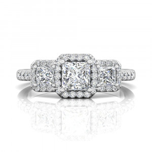 18K White Gold Trilogy Halo Diamond Ring