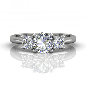 18K White Gold Trilogy Diamond Ring Prong Setting