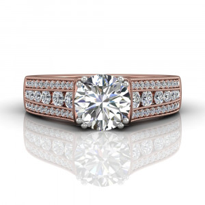 Brilliant Cut Claw Set Diamond Ring With Three Row Side Stone