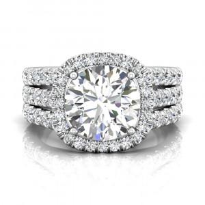 Brilliant Cut Halo Diamond Engagement Ring With Four Claw Setting Centre Stone
