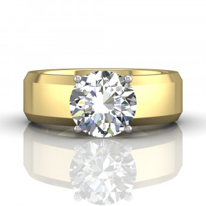 Wide Band Brilliant Cut Diamond Engagement Solitaire Ring