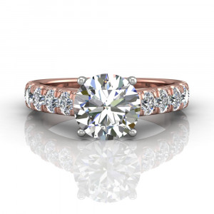 18K Rose and White Gold Damond Engagement Ring