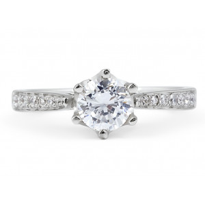 Diamond Engagement Ring with six Claw in 18 Karat White gold Pave Setting