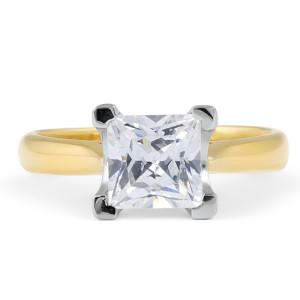 Solitaire Diamond Engagement Ring in 18 Karat 2-Tone