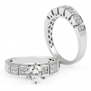 Diamond Engagement Wedding set in 18 Karat White gold