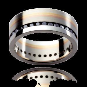 18K Gold Black Diamond Wedding Ring